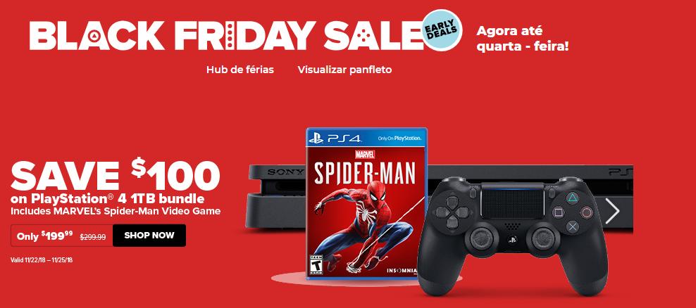 As ofertas do GameStop Black Friday 2018 em jogos incluem o pacote PS4 Spider-Man por US $ 199