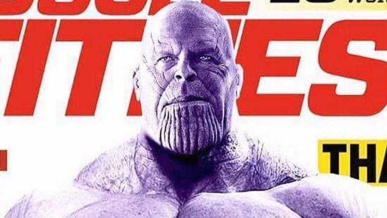 Thanos brilha em capa de revista de musculação em uma montagem