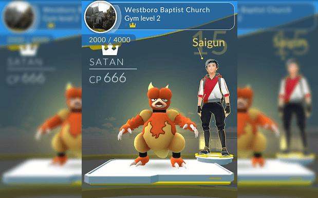 Ginásio de POKEMON GO em igreja agora é defendido por Satan