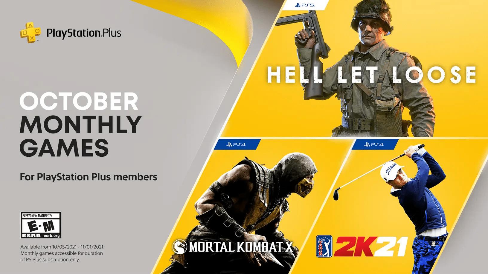 Hell Let Loose, Mortal Kombat X e PGA Tour 2K21 estarão na PS Plus de Outubro