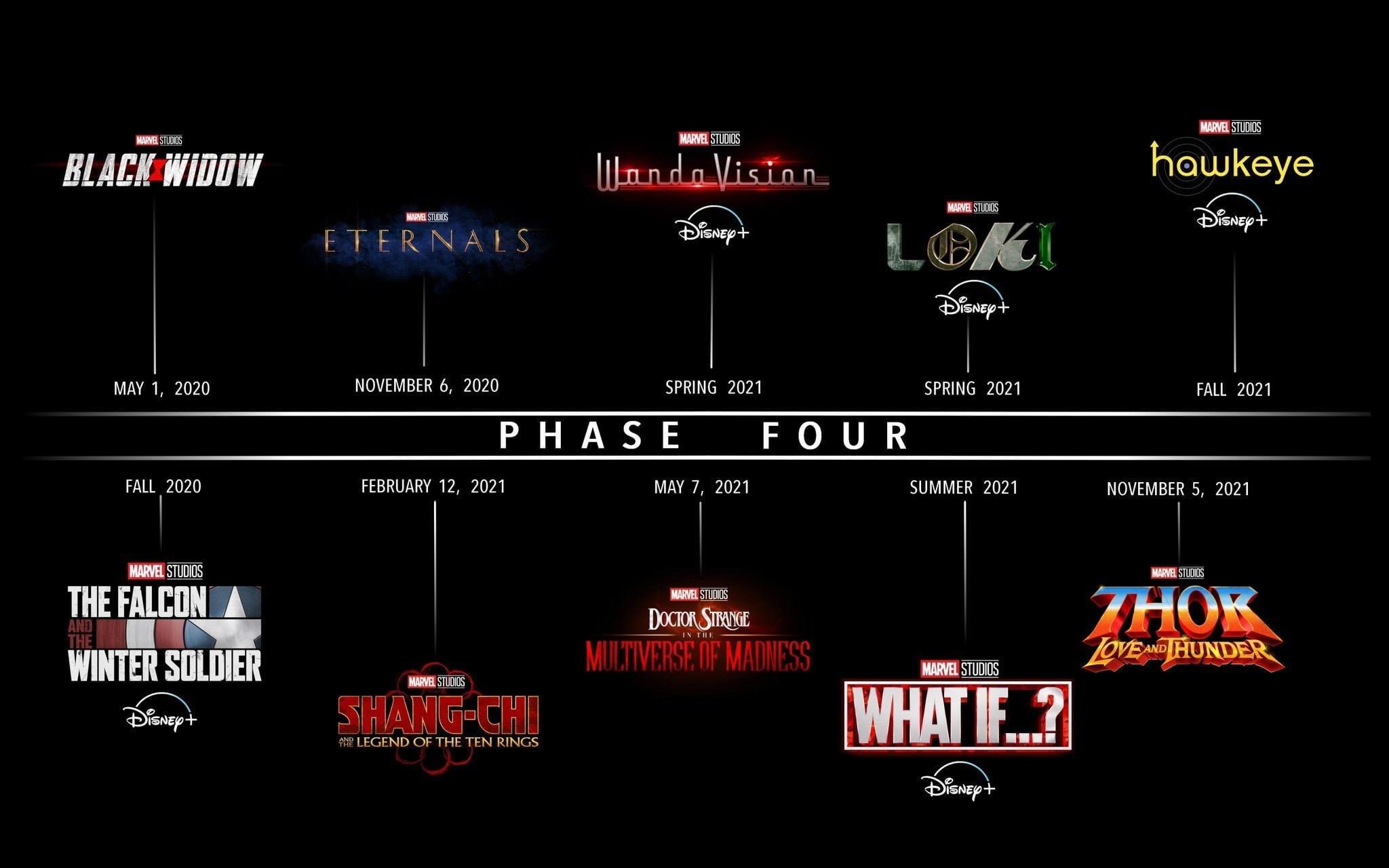 Marvel divulga o calendário de filmes da Fase 4, confira as datas