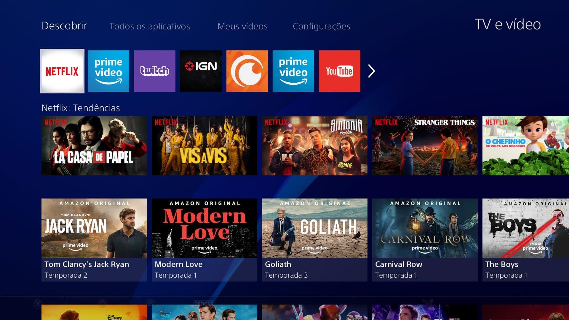 PlayStation 4 tem atualização em seu sistema de TV e vídeo streaming