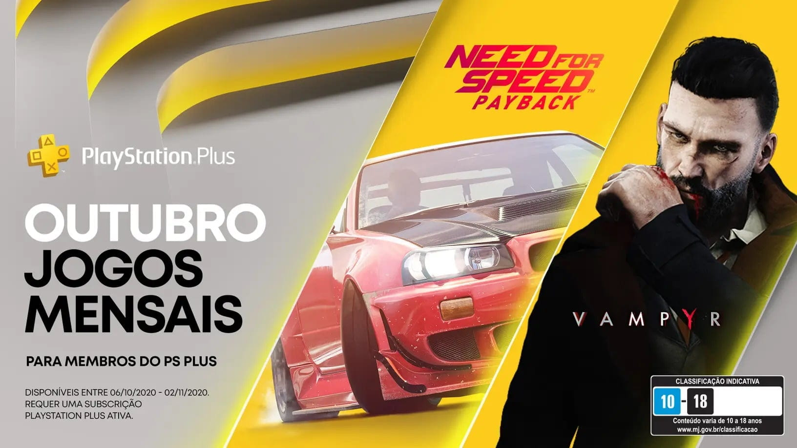 PS Plus de Outubro trará Need for Speed Payback e Vampyr