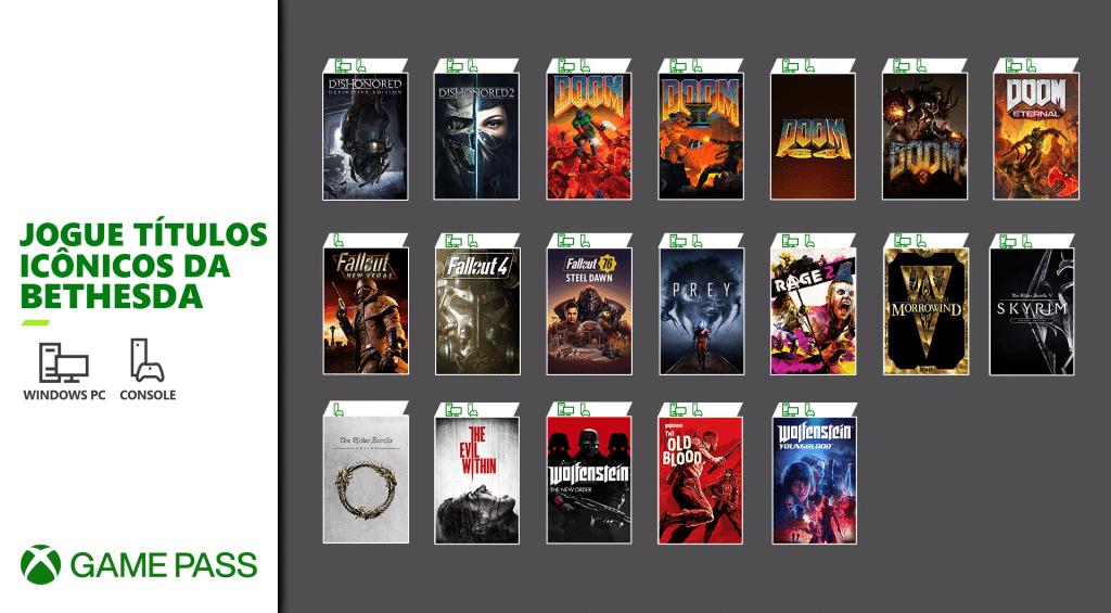 Quase 20 jogos da Bethesda estarão no Xbox Game Pass