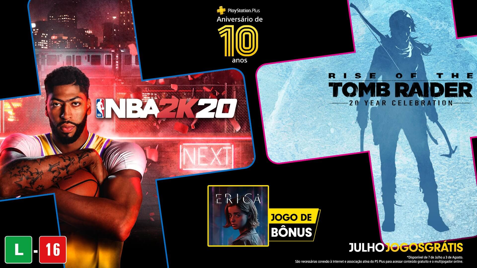 Rise of the Tomb Raider, NBA 2K20 e Erica estão gratuitos na PS Plus